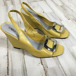 Cato Mustard Yellow Wedged Open Toe Heels Sandals